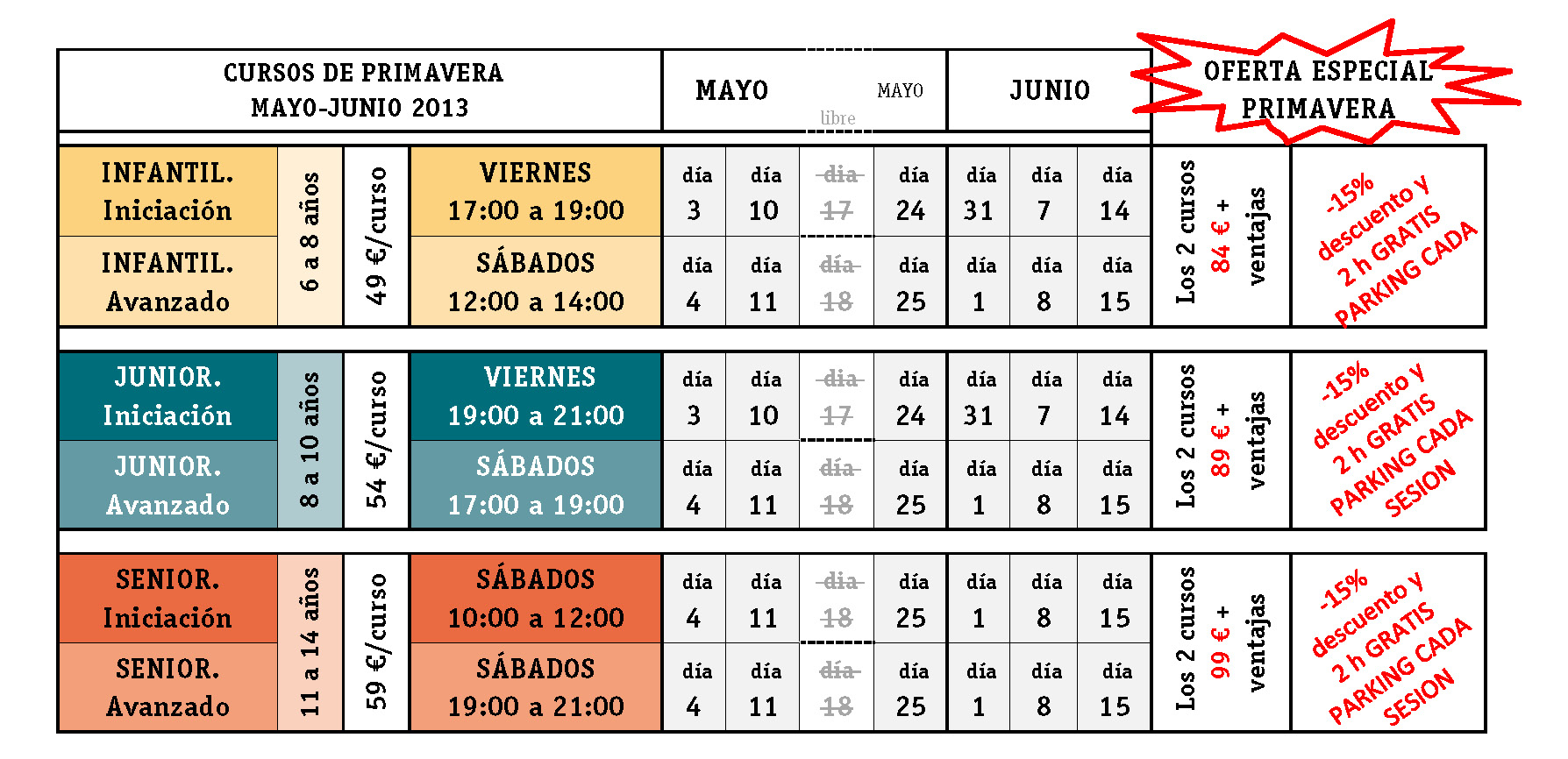 Tabla horarios Curso May-Jun 13 Stemxion ECI2