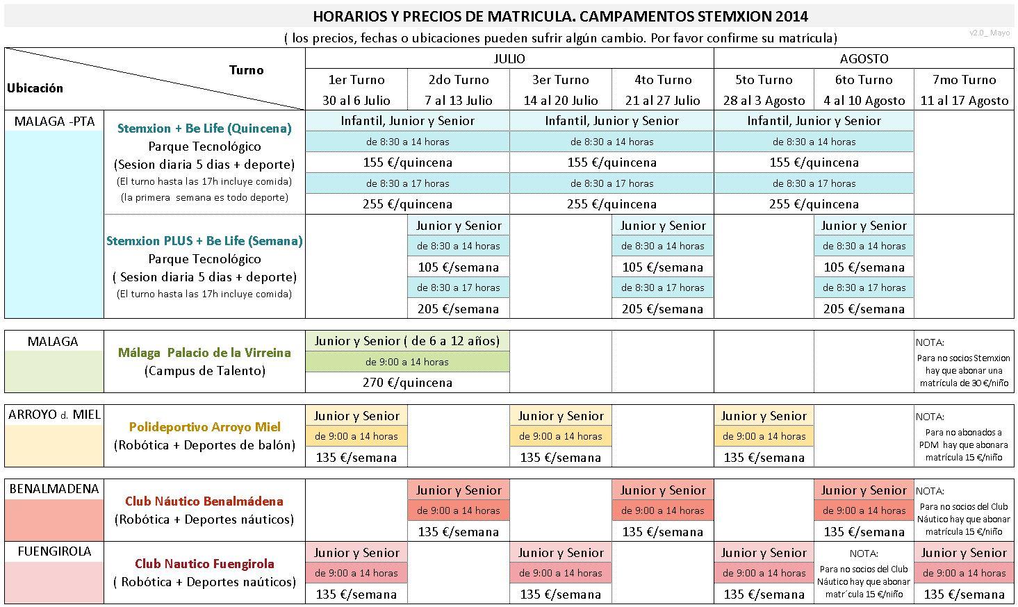 Tabla Horarios Verano Stemxion 2014